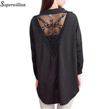 Women Shirt Chiffon Blouse 2018 White Lace Shirt Ladies Tops Loose Plus Size Women Cloting 4XL 5XL Blusas Femininas Black CA23(China)
