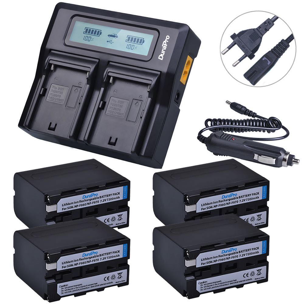 4x 7200mAh NP-F970 NP F970 Power Display Battery + Ultra Fast 3X faster LCD Dual Charger for SONY F930 F950 F770 F570 CCD-RV100 np f960 f970 6600mah battery for np f930 f950 f330 f550 f570 f750 f770 sony camera