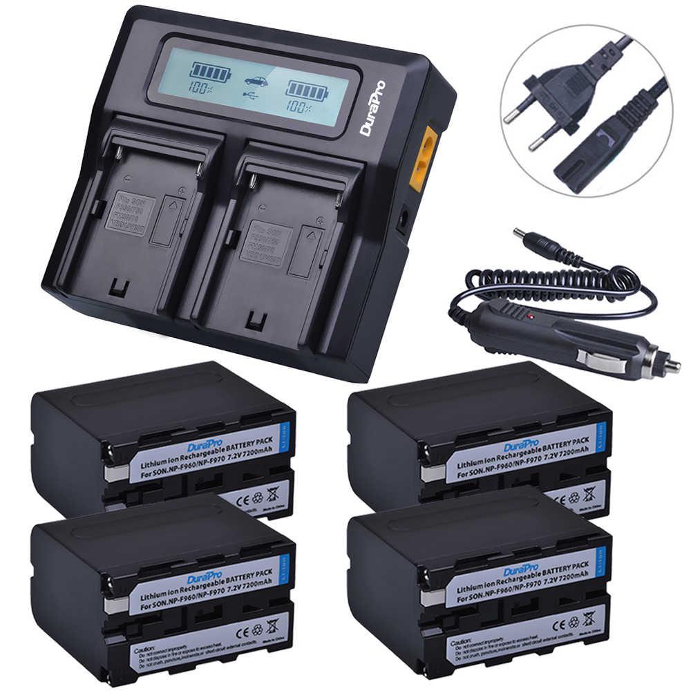 4x7200 مللي أمبير NP-F970 NP F970 الطاقة عرض بطارية + جدا سريع 3X أسرع LCD المزدوج شاحن أجهزة سوني F930 F950 f770 F570 CCD-RV100