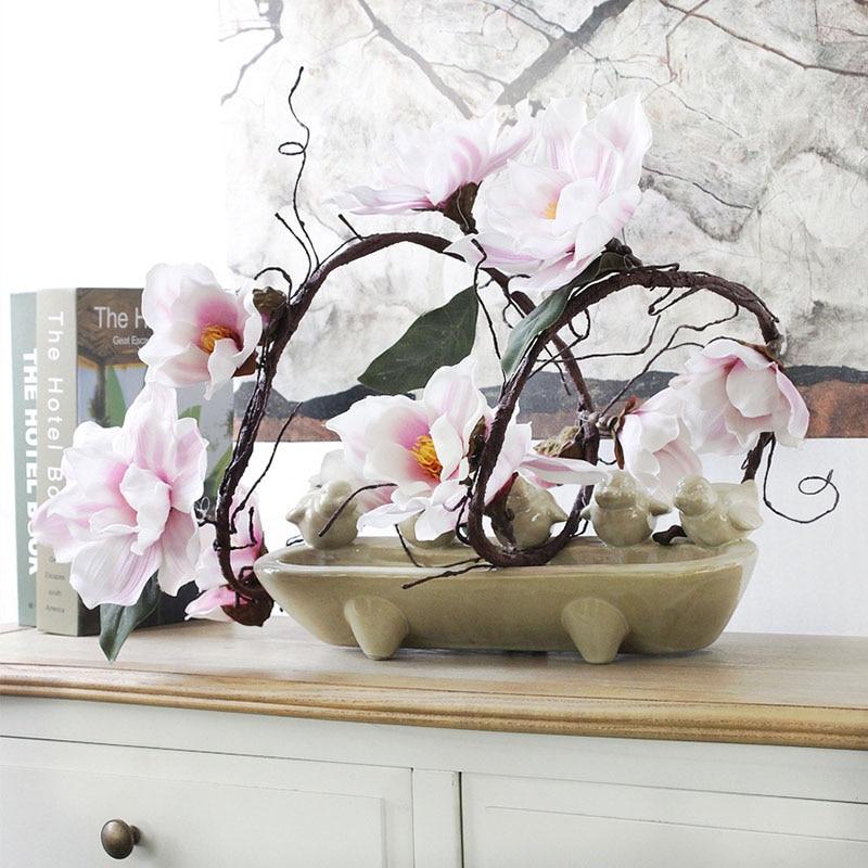 185cm nailonas Dirbtinės gėlės azalijos Magnolijos dirbtinės šakos baltos gegutės ilgos stiebo savavališkos lenkimo šilko gėlių dekoro