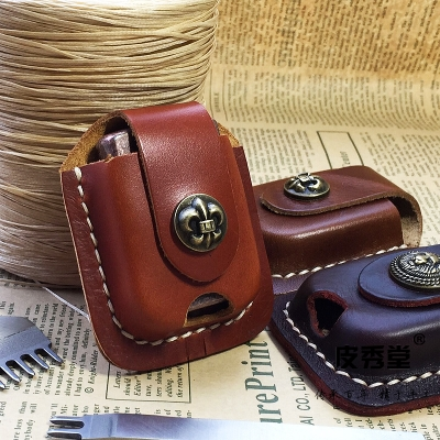 Kerosene Lighter Cow Leather Case Waist Pack Handmade Cover Bag Brown Coffee Color