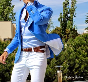 Blue Casual Men Blazer White Pants Summer Beach Wedding Suits For Men Best Man Prom Suits Street Wear Slim Fit Terno Masculino