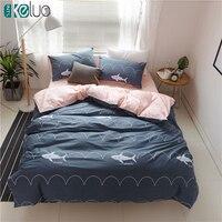 KELUO Luxury Bedding Set Duvet Cover Bedclothes Print Bedding Sets Shark American Style 3 4PCS