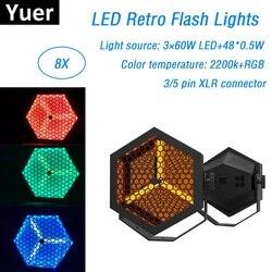 8XLot wysokiej jakości 3X60W LED Retro lampy błyskowe trąba powietrzna projektor laserowy etap Disco DJ klub KTV rodziny oświetlenie imprezowe dla już dziś