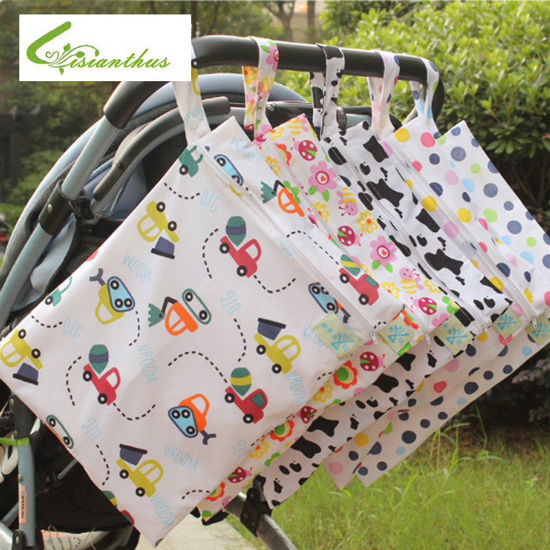 Baby Diaper Bags for Stroller Printed Zippered Wet/Dry Bag Waterproof Wet Cloth Diaper Backpack Reusable Diaper Cover Nappy Bags