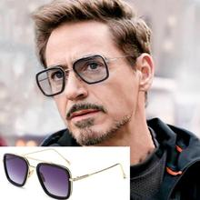 Fashion Avengers Tony Stark iron Man Spiderman Peter Parker Flight Style Sunglasses Men Square Brand Design Sun Glasses
