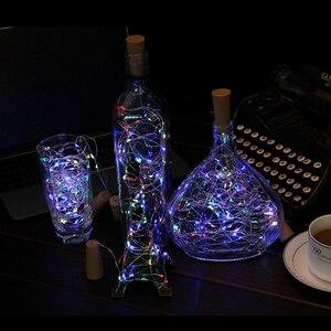 Image 4 - 6 Pcs Wein kork Lichter mit 20 LED Silber Kupfer Draht Girlande Fee String Lichter für Home Party Weihnachten Hochzeit dekoration