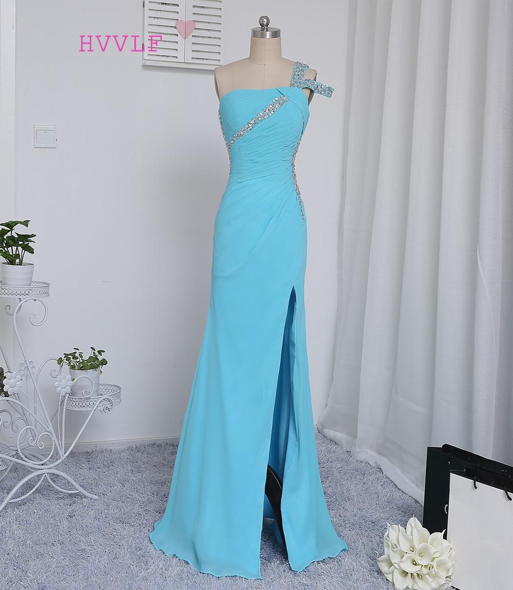 HVVLF Sky Blue 2019 Prom Dresses sirena aperto indietro perline cristalli sexy spacco lungo abito da sera abito da sera abiti da sera