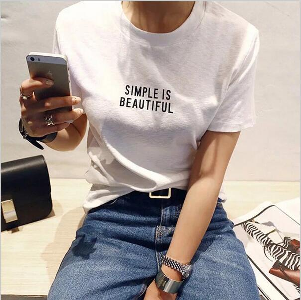JEDNODUCHÉ JE BEAUTIFUL Nové módní dámské letní tričko bílé krátký rukáv bavlněné dopis tisk ležérní top ženské trička  t