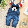 Outono nova Mickey Sólidos Crianças/Crianças Calças de Brim Macacão Bonito Da Criança Calças/Calças/Pantaloni/Roupas Para Baby/Meninas/Meninos
