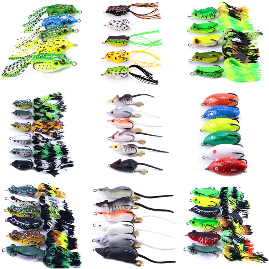 Mixed Set 5.8g-13.81g Classic Frog/mouse Soft Fishing Lure Crank Bait Bass Tackle Hook Plastic Crank Baits Double Claw-Like Hook mixed set 5 8g 13 81g classic frog mouse soft fishing lure crank bait bass tackle hook plastic crank baits double claw like hook