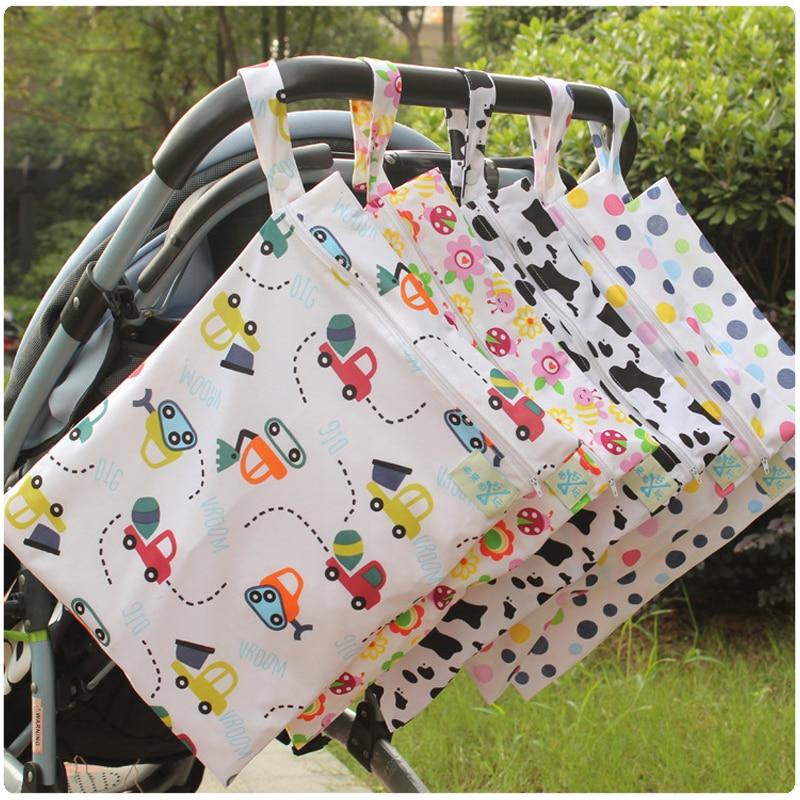 Waterproof Baby Diaper Bags Wet Dry Bag Reusable Washable Zipper Baby Cloth Diaper Storage Bag Tote  Waterproof Swim  Nappy Bag