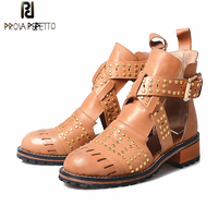 Prova Perfetto Preppy Style Martin Shoes Rivet Studded Buckle Strap Hollow Out Single Shoes For Autumn