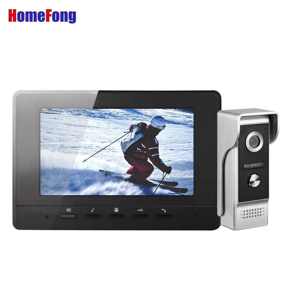Homefong Video Door Phone Intercoms for Private Homes Doorbell with Camera Black White Color Unlock Day Night Vision Rainproof