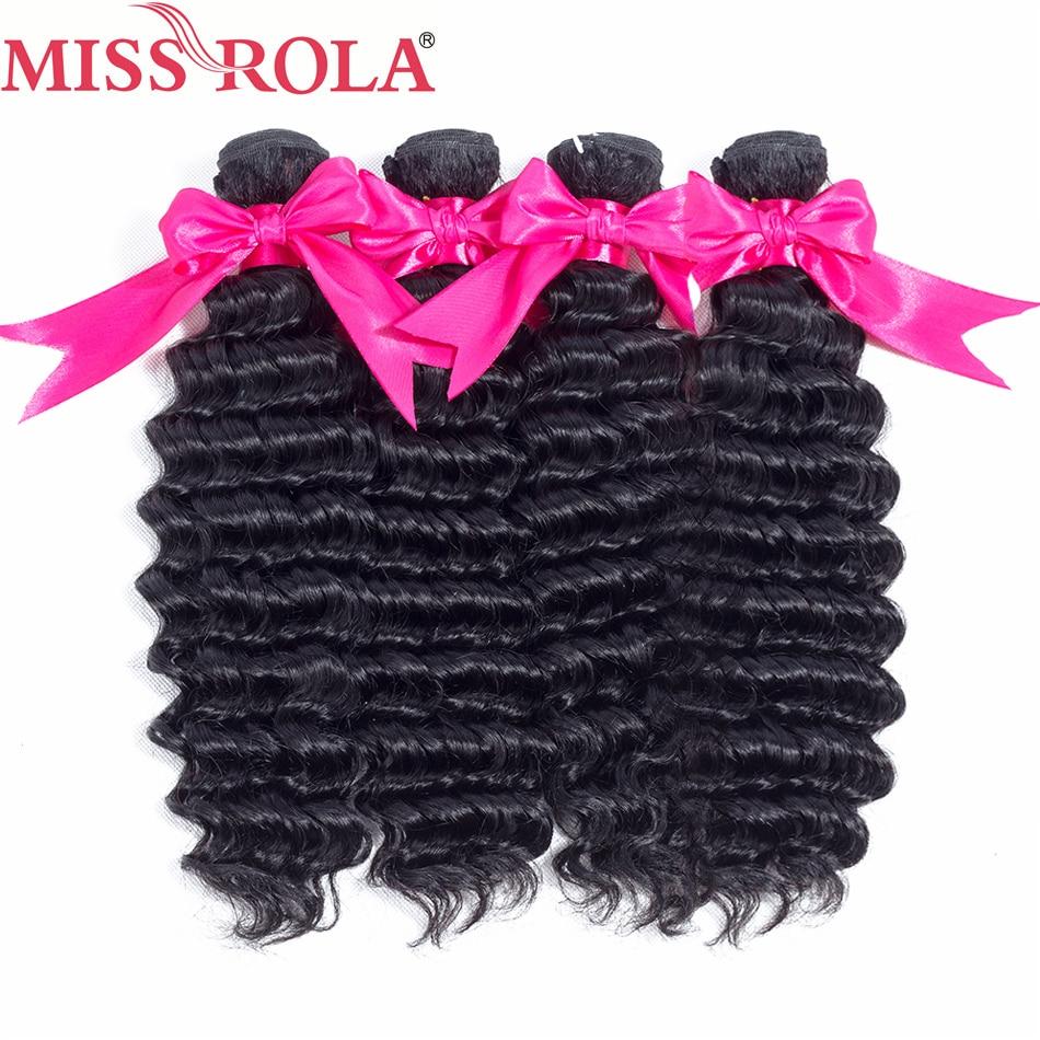 Miss Rola Hair Deep Wave 4 Bundles Brazilian Hair 8 26 Inches 100 Human Hair Weave