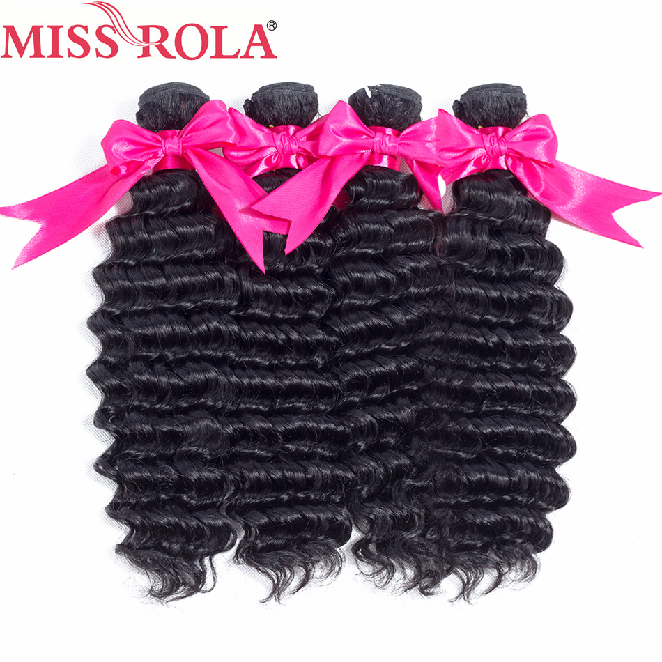 Miss Rola Hair Deep Wave 4 Bundles Brazilian Hair 8-26 Inches 100% Human Hair Weave Sew In Hair Extensions Non-Remy