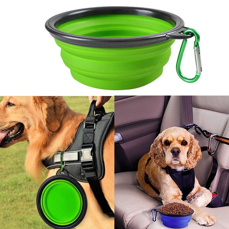 Tazón de fuente de agua de viaje Shih Tzu titular de alimentos para mascotas plegable plegable con Clip de cinturón