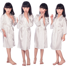 7cef2bbab Lovely Satin Pajama Kid/Children Sleepwear Wedding Flower girl's Gown High  Quality Kimono Robes Solid · 6 Colors Available