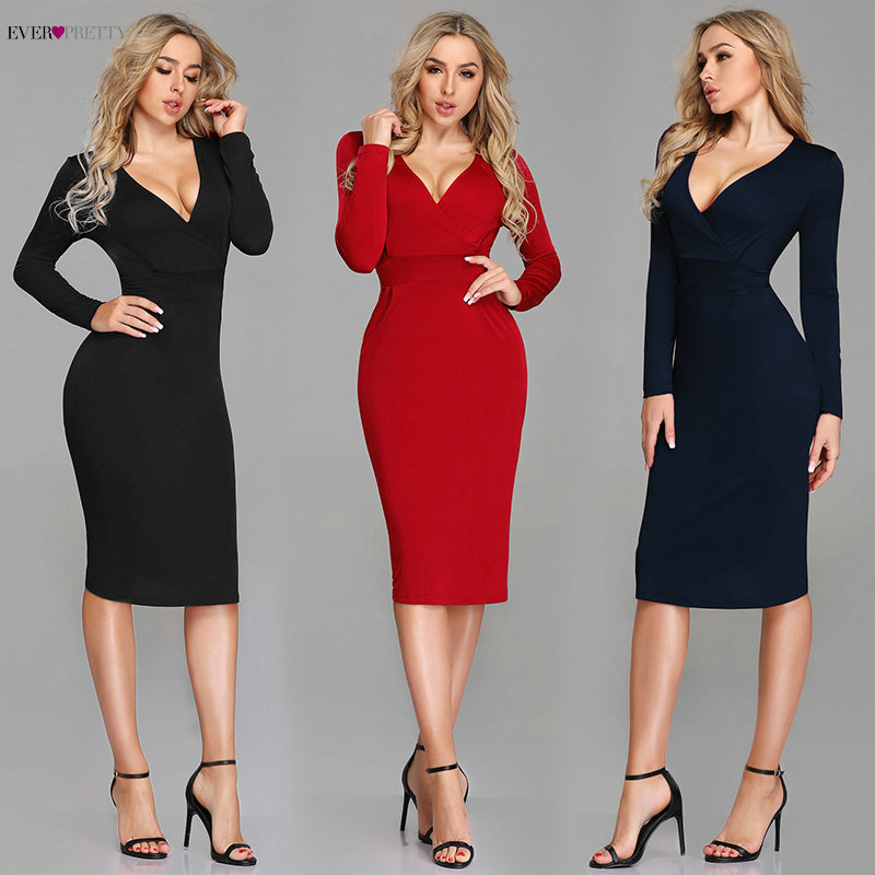 Sexy Red Cocktail Dresses 2020 Ever Pretty Long Sleeve Winter Style Formal Dress Mermaid Knee Length Cheap Vestido Coctel Corto