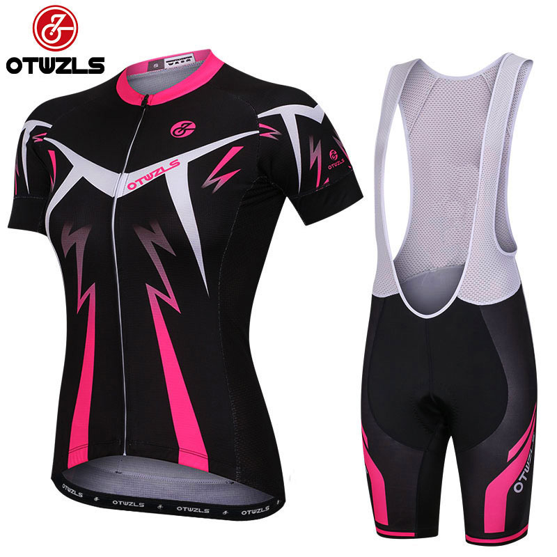 OTWZLS 2018 Pro Team Short Sleeve Women Cycling Jersey Set Bike Shorts SET MTB Ropa Ciclismo Riding Wear Bicycle Clothes cheji team women cycling jersey bike ropa ciclismo bicycle outdoor sportwear short sleeve clothing shorts set dot pink