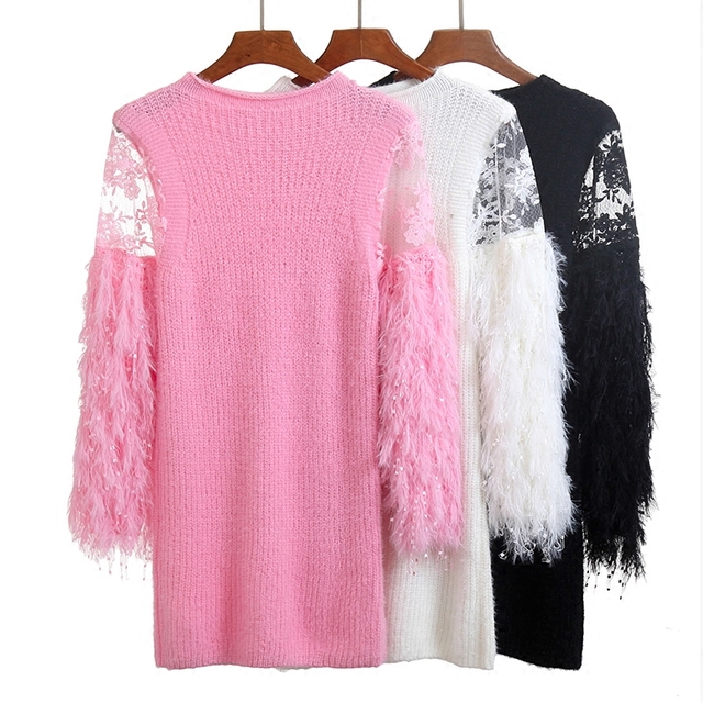 108731b58df8 pink grey white black long sleeve lace patchwork fringed tassel fluffy  knitted sweater dress for women pullover sweaters dresses