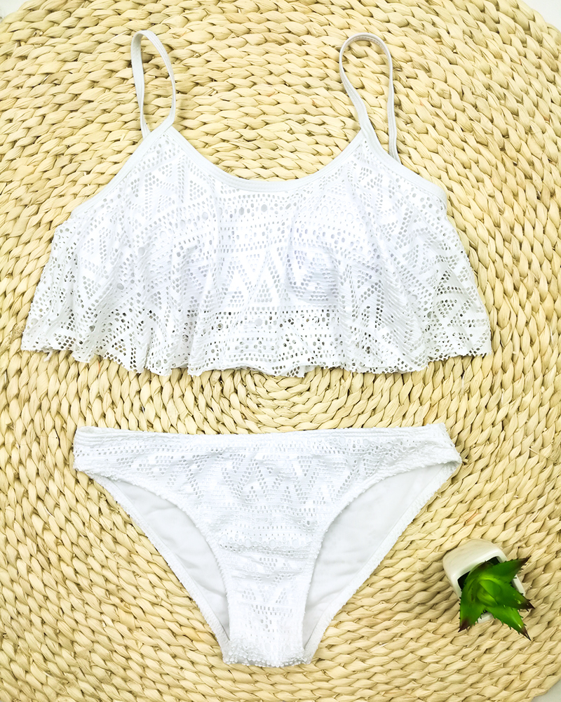 Push Up New 2018 Simple Solid Color Bikini Set Sexy Low Waist Beach Swimwear Women Lace Up Flounce Summer Brazilian Swimsuit 34