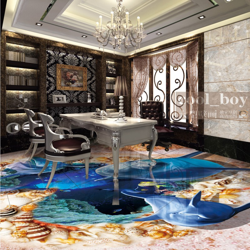 Free Shipping 3d sea world Dolphin heart-shaped shell beach floor wallpaper study home kitchen self-adhesive floor mural frico pa4220wl