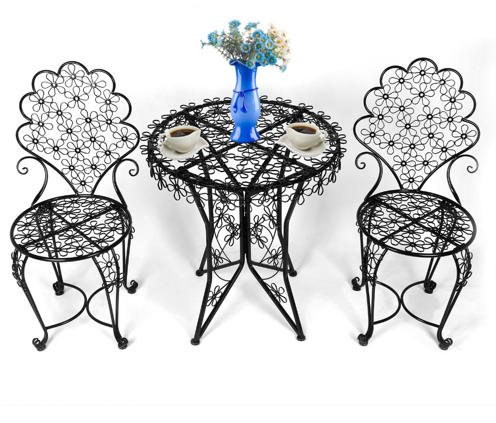 hlc 3piece outdoor cast iron patio furniture set with table and chairs european classic style outdoor dining set