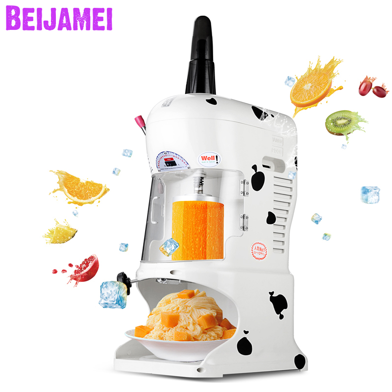 BEIJAMEI New Snow Cone Ice Shaver Planer Machine Maker Electric Block Ice Crusher Snowflake Shaved Ice