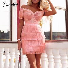 Simplee Embroidery off shoulder tassel splice sexy dress Sweet pink mini dress 2018