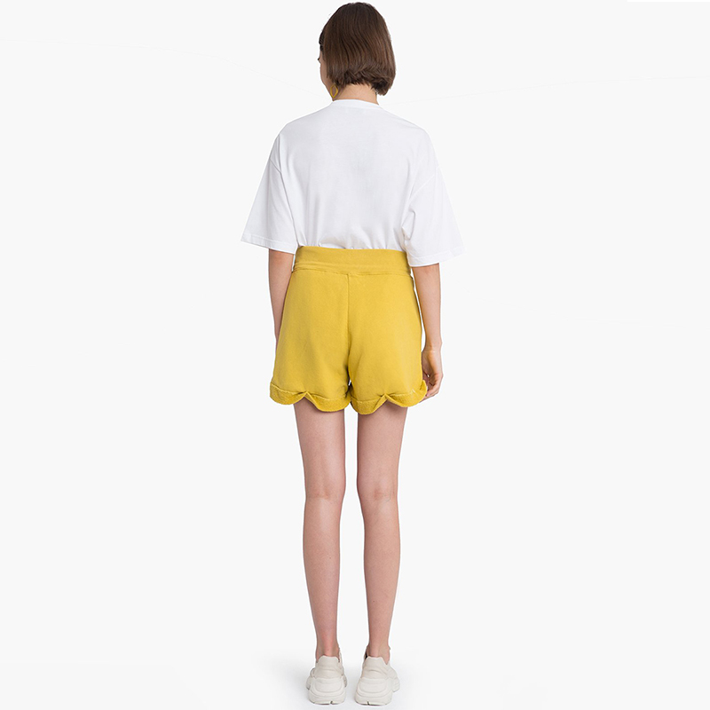 HYH HAOYIHUI Solid Hole Drawstring Shorts 2018 New Fashion Summer Women Shorts Casual High Waist Straight Frill Sweet Shorts