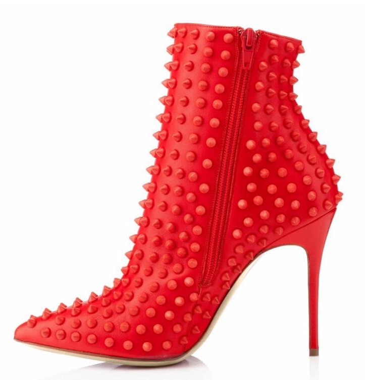 Rivet Pointed Toe High Heel Short Boots Hot Selling Red Thin Heels Shoes Spring Ankle Women Boot Large Size Party Shoes 2017 new arrivals hot selling pointed toe high heels short boots black suede leather rivet ankle booties women shoes free ship