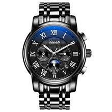 Швейцария Часовой Бренд 2016 Новый Водонепроницаемый Спорт Военные Часы световой механические Наручные Часы SOLLEN SL802S Мужские Часы