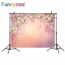Funnytree fotografia bokeh cenário primavera rosa flor de cerejeira pintura photocall de fundo estúdio de fotografia foto prop