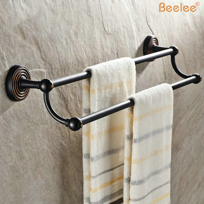 Beelee BL7802B  Retro Style OiL Rubbed Bronze Finished Double Bar Towel Rack Wall Mounted 60cm Long Solid Brass Towel Bar oil rubbed bronze wall mount towel rack holder round towel bar hanger solid brass