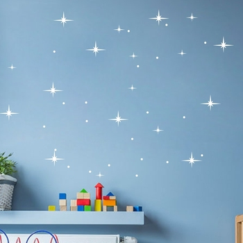 DIY Stars and Dots Wall Decals for Baby Room Nursery Background Wall Decoration Available in Gold