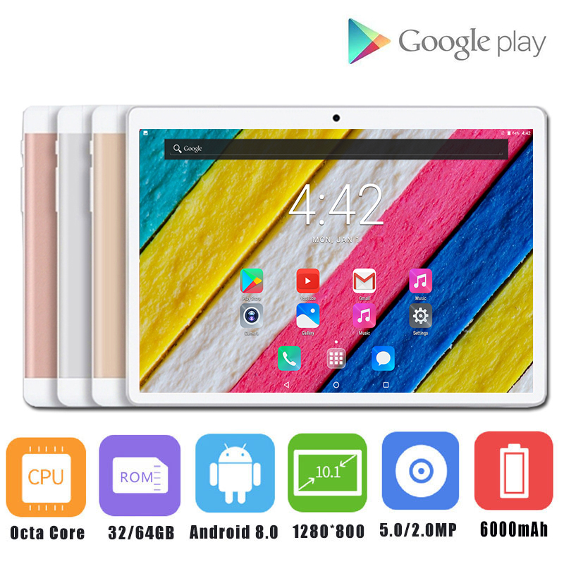 2019 New 10 inch tablet PC Octa Core 4GB RAM 64GB ROM Android 8.0 Dual SIM Cards 3G 4G LTE WiFi Bluetooth Tablets 10.1+Gifts(China)