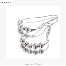 XYZLS 12pcs/pack Set Package Polished Metal 5 Roller Ball Shower Curtain Rings Hooks