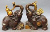 9 Chinese FengShui Bronze Gilt Elephant Heffalump Cucurbit Ruyi Statue Pair
