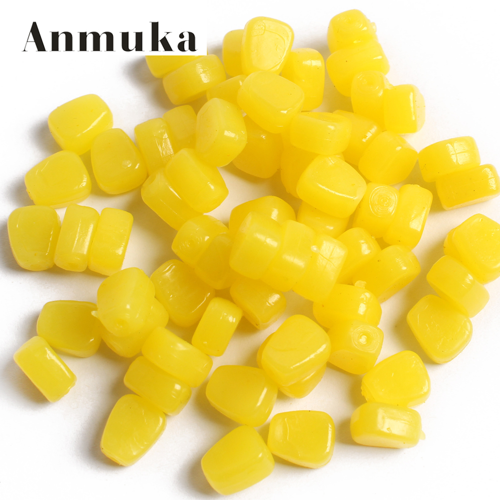 Anmuka 100pcs yellow color soft fishing lure Grass Carp Baits Corn kernels Baits jig soft carp fishing tackle 21010-100 rompin 100pcs bag red carp fishing bait smell grass carp baits fishing baits lure formula insect particle rods suit particle
