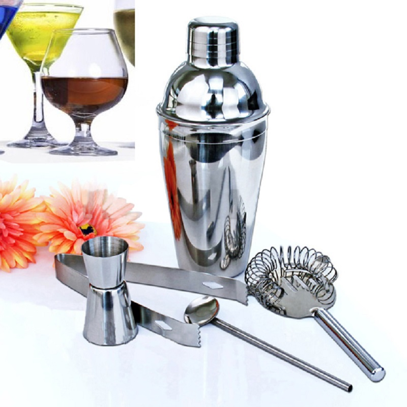 5Pcs set 350ml Stainless Steel Cocktail Shaker Set Mixer Drink Hawthorn Strainer Ice Tongs Mixing Spoon