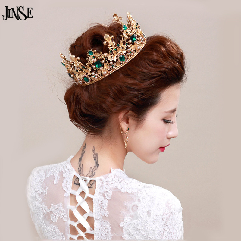 JINSE Luxury Vantage Gold Wedding Crown Alloy Bridal Tiara Baroque Queen King Crown Green Gem Stone Tiara Crown CR081
