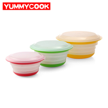 3pcs/set Folding Dining Bowl With Lid Dinnerware Sets Tableware Kitchen Camping Accessories Supplies Products Wholesale