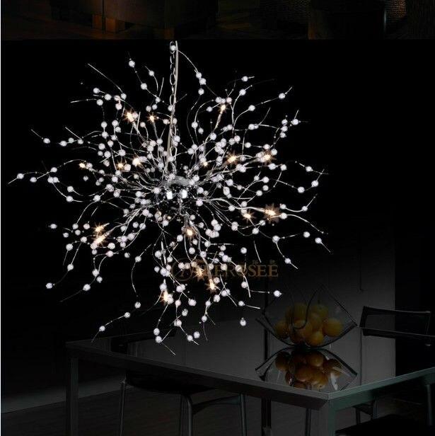 Lustre créatif moderne luminaire perlé Floral G4 ampoules suspendus lampe suspendue feux d'artifice forme éclairage pour Restaurant