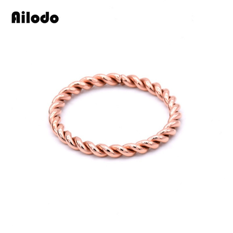 Ailodo Classical Twist Engagement Wedding Ring For Woman Girls Rose Gold Color Stainless Steel Rings Simple Fashion Bijoux LD008 in Rings from Jewelry Accessories