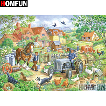HOMFUN 5D DIY Diamond Painting Full Square/Round Drill Country scenery Embroidery Cross Stitch gift Home Decor Gift A08331