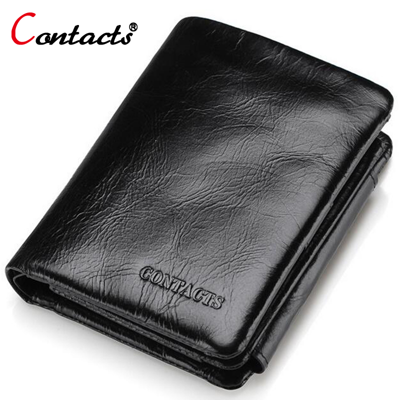 CONTACT'S Men Wallet Three Fold Short Genuine Leather Wallets Large Capacity Male coin purse Card Holder Pockets dollar price flying birds 2016 wallet leather purse dollar price men bags wallets card holder coin purses short wallet men s bag lm3421fb