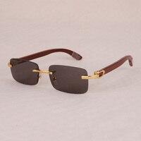 Vazrobe Mens Sunglasses Wooden Sun Glasses for Man Rimless Sunglass Luxury Brand Name Wood Temple