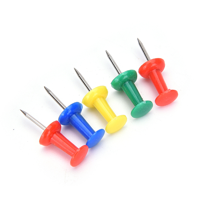 Multi Color 80Pcs Push Pins For Wooden Framed Cork Pin Notice Memo