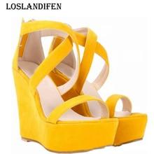 Loslandifen Fashion Women Sexy Cross Strap Suede Platform Wedge High Heels Sandals
